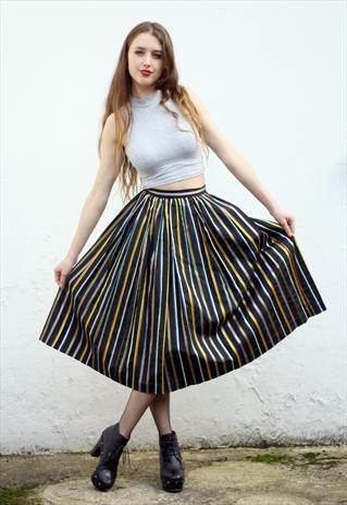 #Vintage Black Striped Flare Midi #Party #Skirt Size UK 8#asosmarketplace