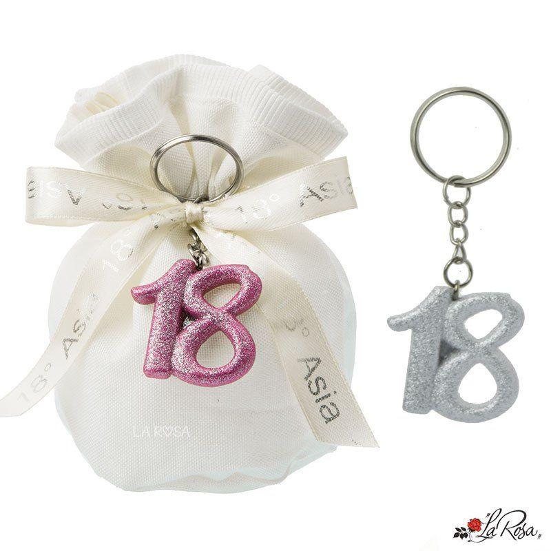 Bomboniere Per 18 Anni Portachiavi Numero 18 In Resina Colore Bianco E Fucsia Con Brillantini Misura 3 5 Cm I Bomboniere Portachiavi Idee Per Il Compleanno