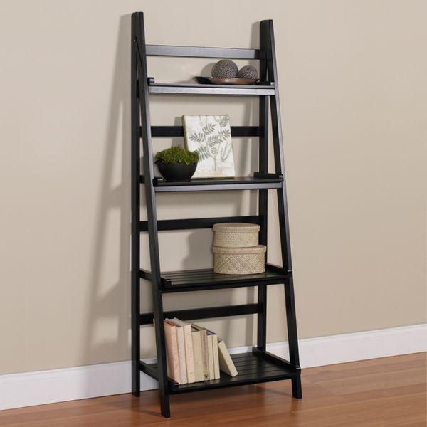 4-Tier Black Ladder Shelf Kit