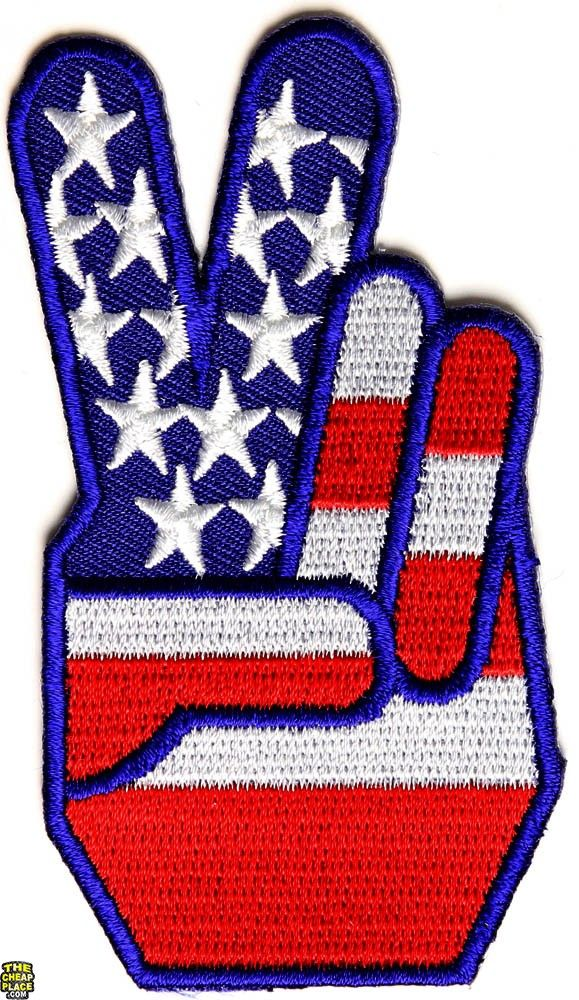 USA FLAG COLOR PEACE SIGN SYMBOL Embroidered Iron on Patch Free Shipping