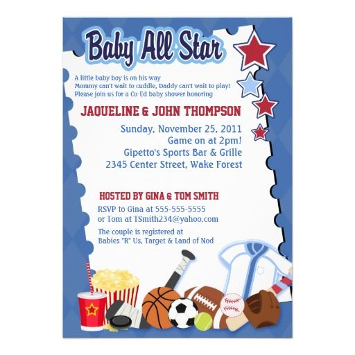 BABY SPORTS FAN ALL STAR Baby Shower Invitation Star baby showers