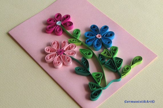 Flowers Quilling Card With Quilled Flowers by GermanistikArt, #quilling #etsy #greetingcard
