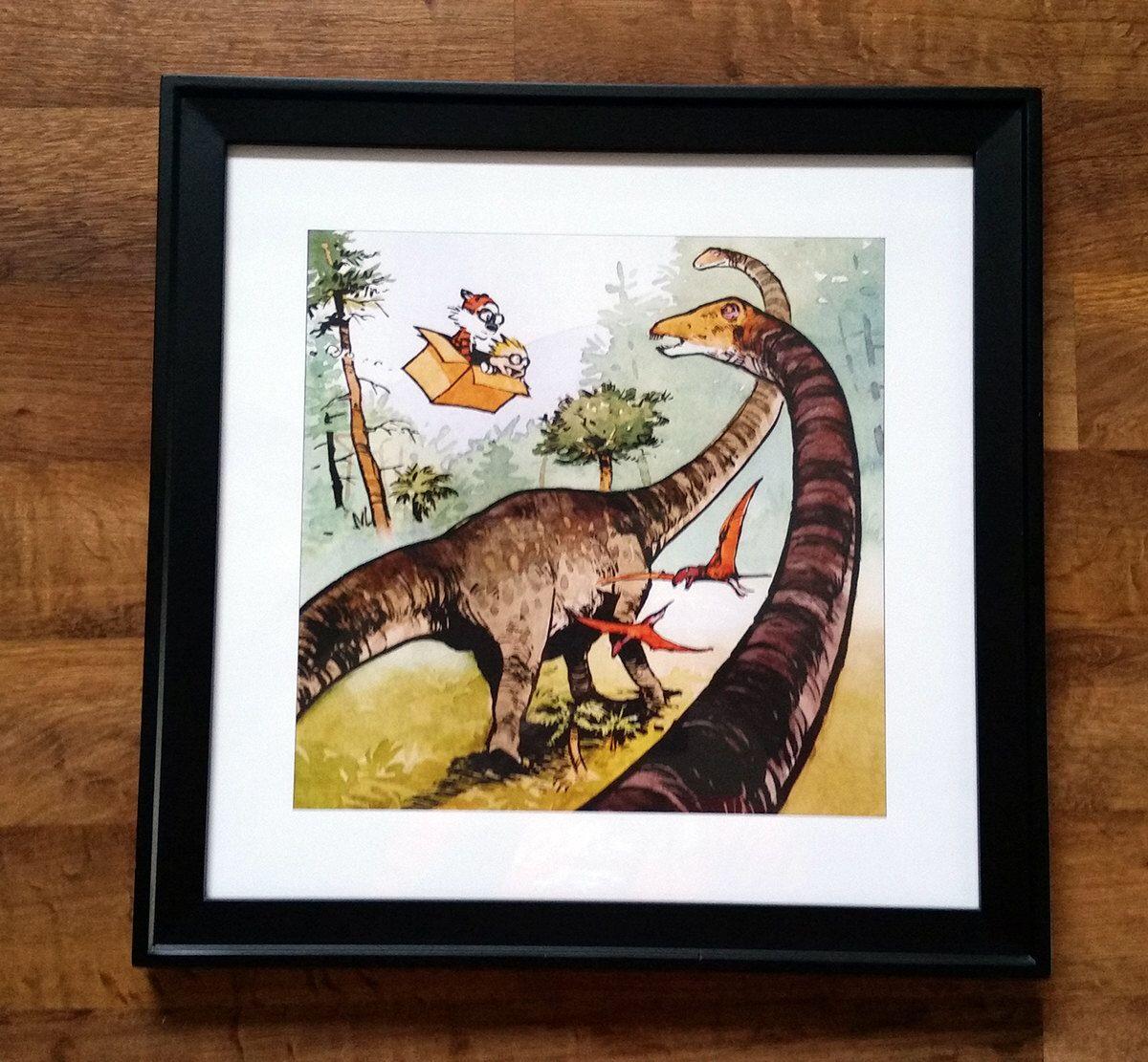 Calvin and Hobbes Time Travelers Dinosaur Framed Print 18 x 18\
