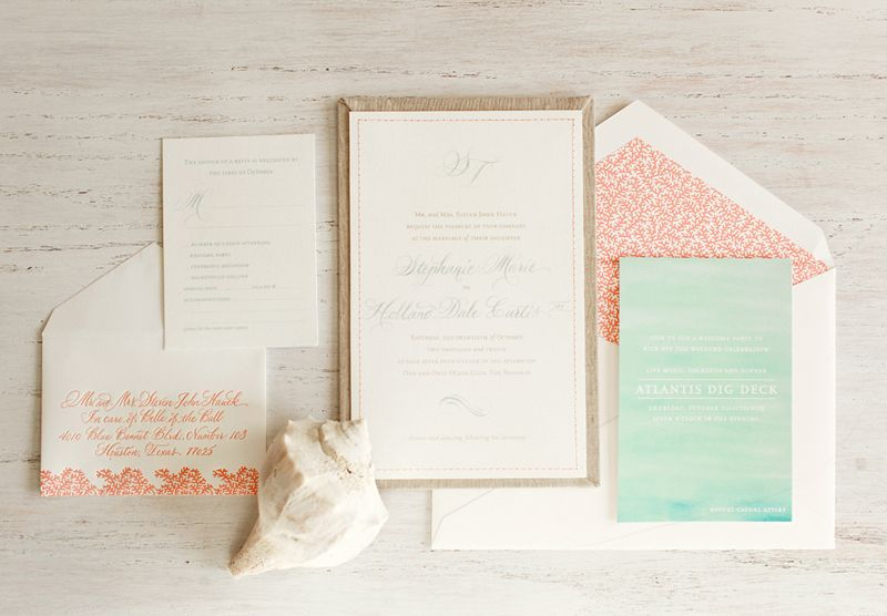 Stephanie Treys Coral and Aqua Destination Wedding Invitations