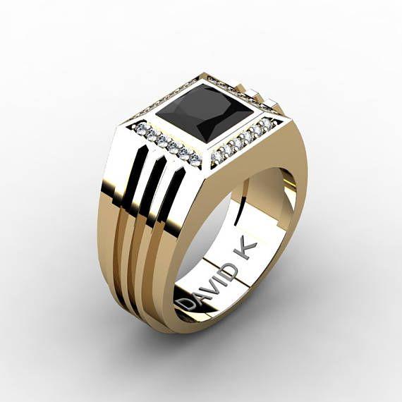 6f344c9fc39a6b Gentlemens Modern 14k Yellow Gold 2.0 Carat Princess Black Diamond Diamond  Ring R1140-14KYGDBD