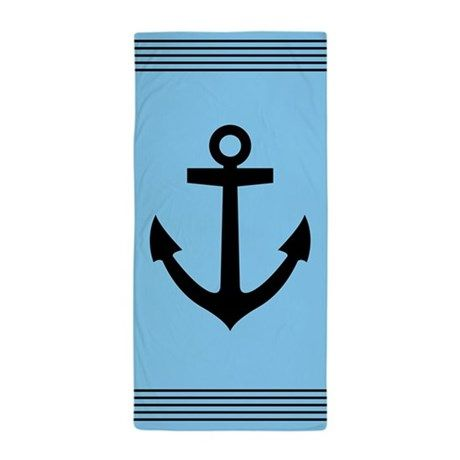 Stylish Blue And Black Striped Nautical Themed Beach Towel With Anchor Logo