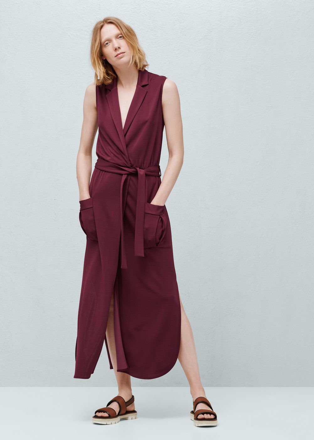 Długa sukienka z paskiem mango fashion pinterest long