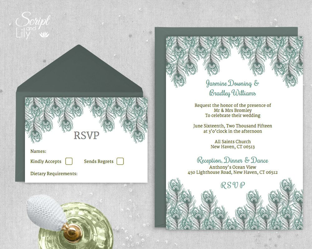 "Peacock Feather Wedding Invitation Template | 1920's Gatsby Style | INSTANT Download | Vintage Green | Word or Pages Pc & Mac | 5""x7"" by ScriptAndLily on Etsy"