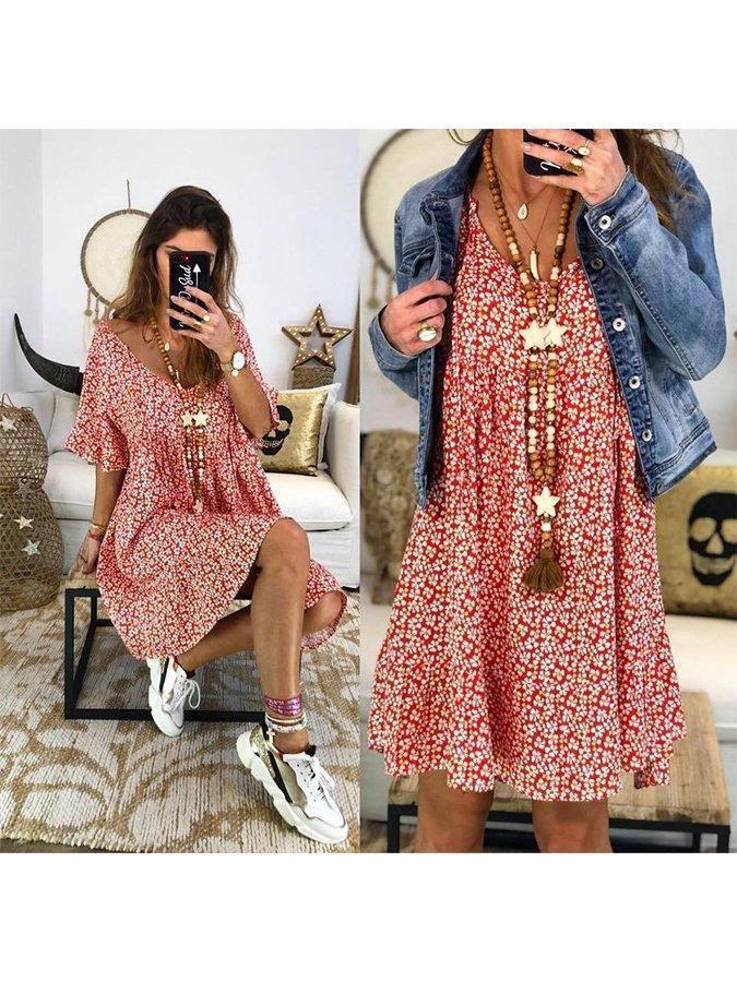 Flower Short Sleeve Shift Floral V Neck Dress – Mod and Retro Clothing