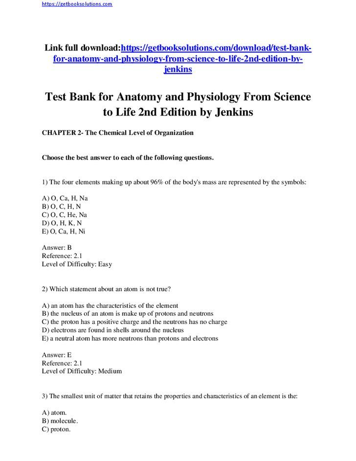 Pin On Test Bank For Anatomy And Physiology From Science To Life 2nd Edition By Jenkins