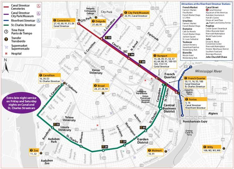 Louisiana New Orleans Map.New Orleans Streetcar Routes New Orleans Pinterest New Orleans