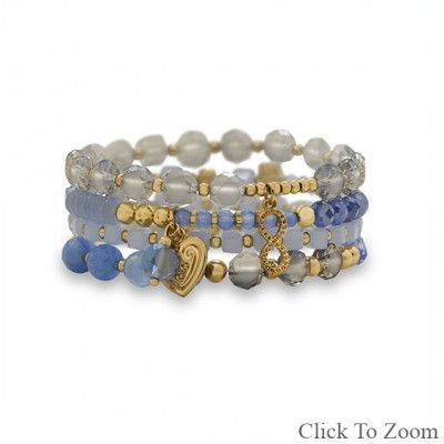 Set of 4 Gold Tone Multicharm Fashion Stretch Bracelets with Blue Stones. Each bracelet has its own unique design using a combination of beads and charms. The beads range in size from 3mm - 8mm and include gold tone beads, blue agate, Czech glass, and crystal. The charms include a 12mm heart, an 11mm x 12mm abstract charm and a 8mm faceted blue crystal. Beads and charms may vary from bracelet pictured.