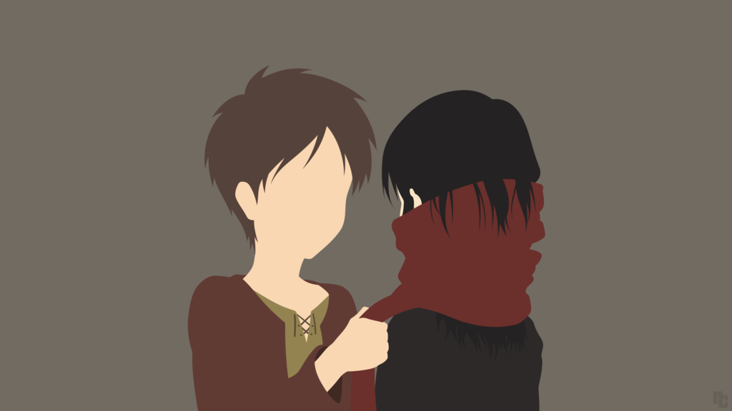 Posted in anime wallpaper brand wallpaper minimalism wallpapers tv shows wallpaper. Minimalist Wallpaper   Eren + Mikasa   AoT by ncoll36 ...
