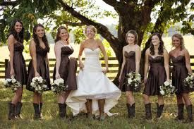 3b107354c690 brown bridesmaid dresses with cowboy boots - Google Search | Wedding ...