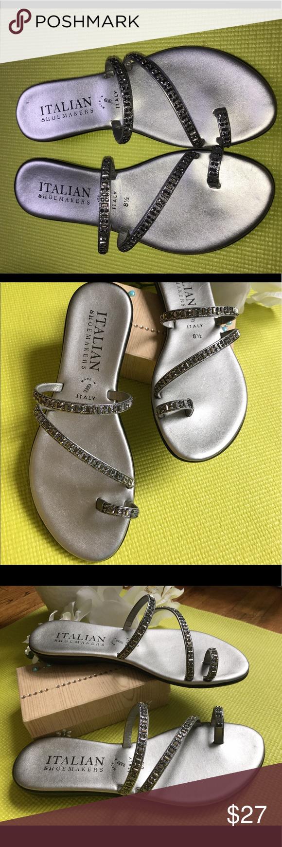6ec540c20ce093 ITALIAN SHOEMAKERS Evita Toe Ring Sandal ITALIAN SHOEMAKERS Made In Italy  Evita Toe Ring Sandal Pewter