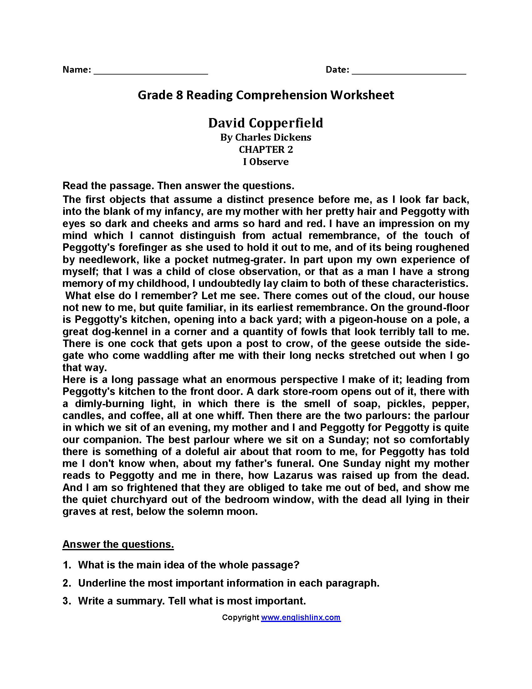 David Copperfield Eighth Grade Reading Worksheets   Reading comprehension  worksheets [ 2200 x 1700 Pixel ]