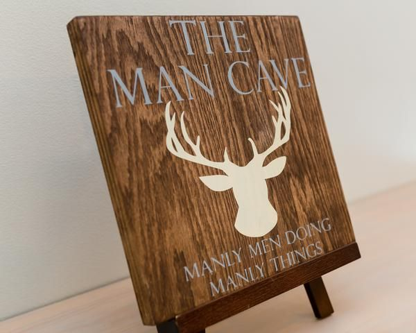 Hand Painted Man Cave Signs : The man cave manly men wood sign with deer head