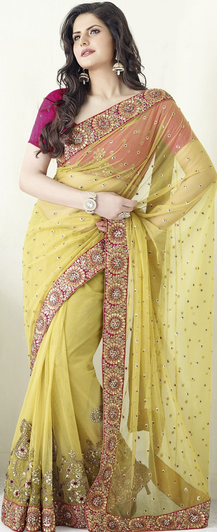 30da4a8d6e34e9 Golden #Net #Saree with Blouse | @ $165.45 | Indian Celebrity ...