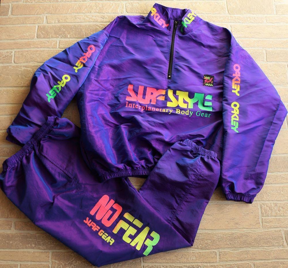 5a9b0b245c Vintage 80s 90s Surf Style Windbreaker Jacket Pants Track Suit Purple OS  Large #SurfStyle #Windbreaker
