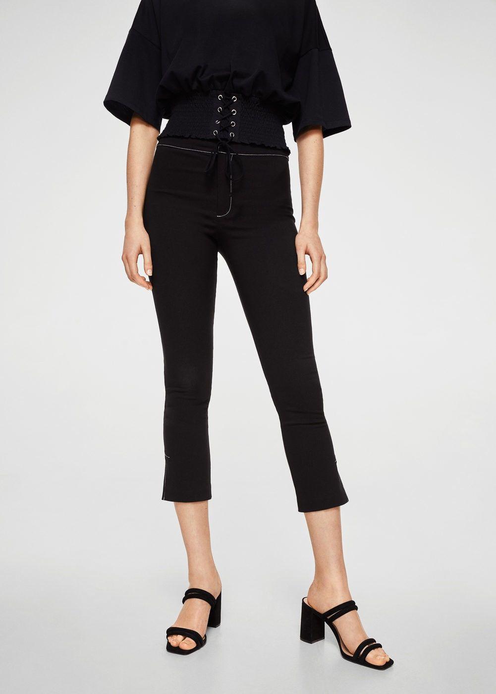 Broek met contrasterende stiksels Dames | Trousers women