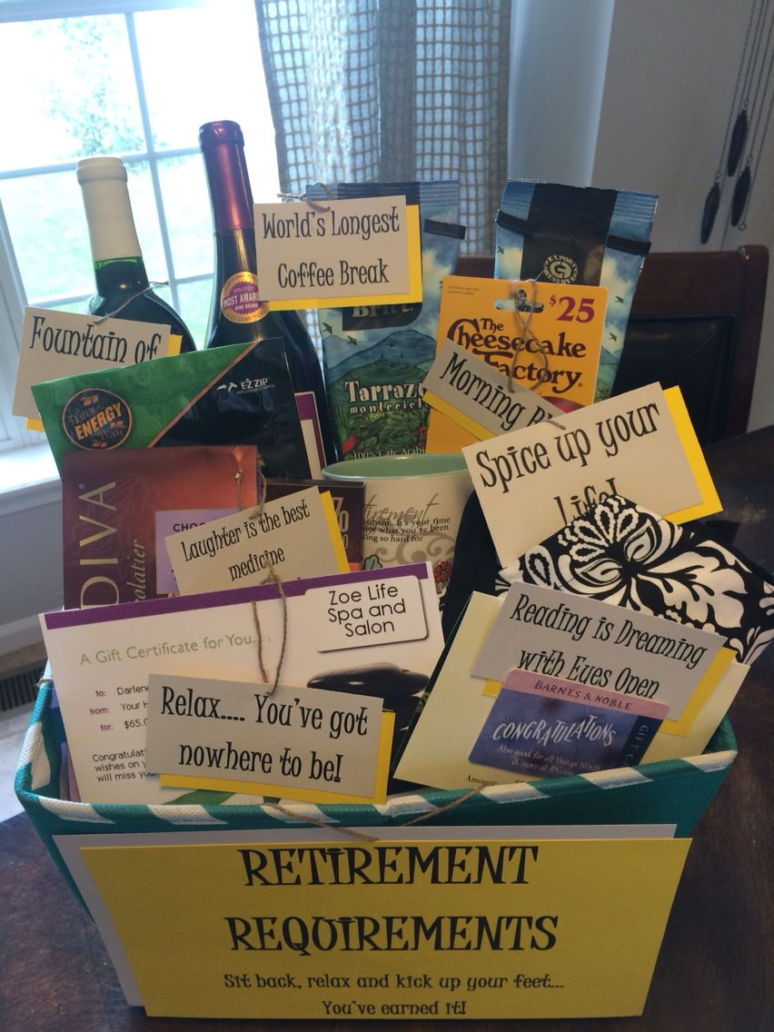Cute Retirement Gift Basket Retirement Gift Basket Diy Pinterest Retirement Retirement Party Ideas Women Retirement Party Ideas Travel