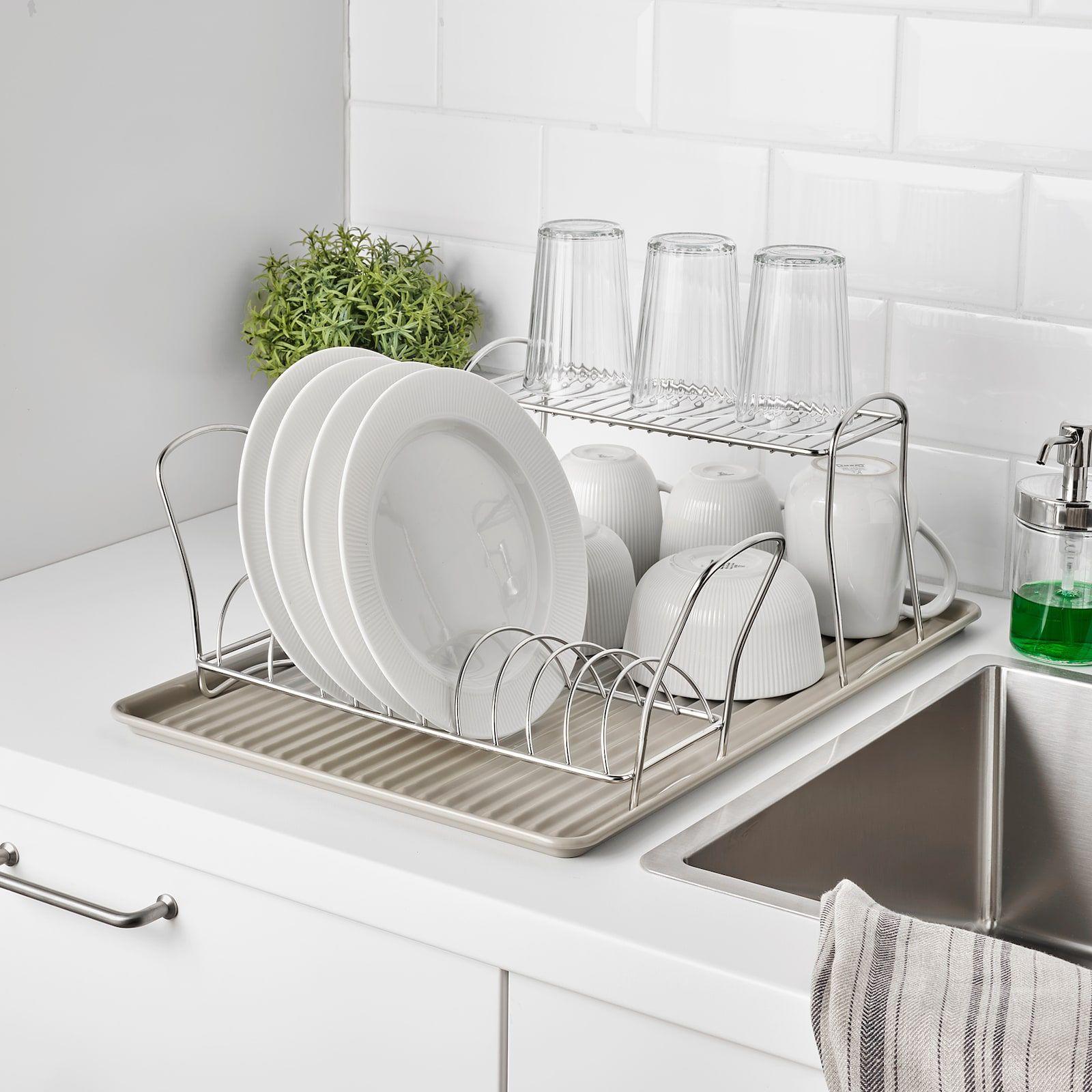 VÄLVÅRDAD Dish drying rack, stainless steel, 4 ¾x12 ½