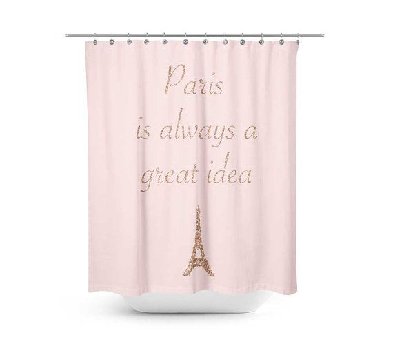 Paris Shower Curtain Featuring Printed Rose Gold Effect Add Some Glamour To Your Bathroom With Our Lovely Typography And