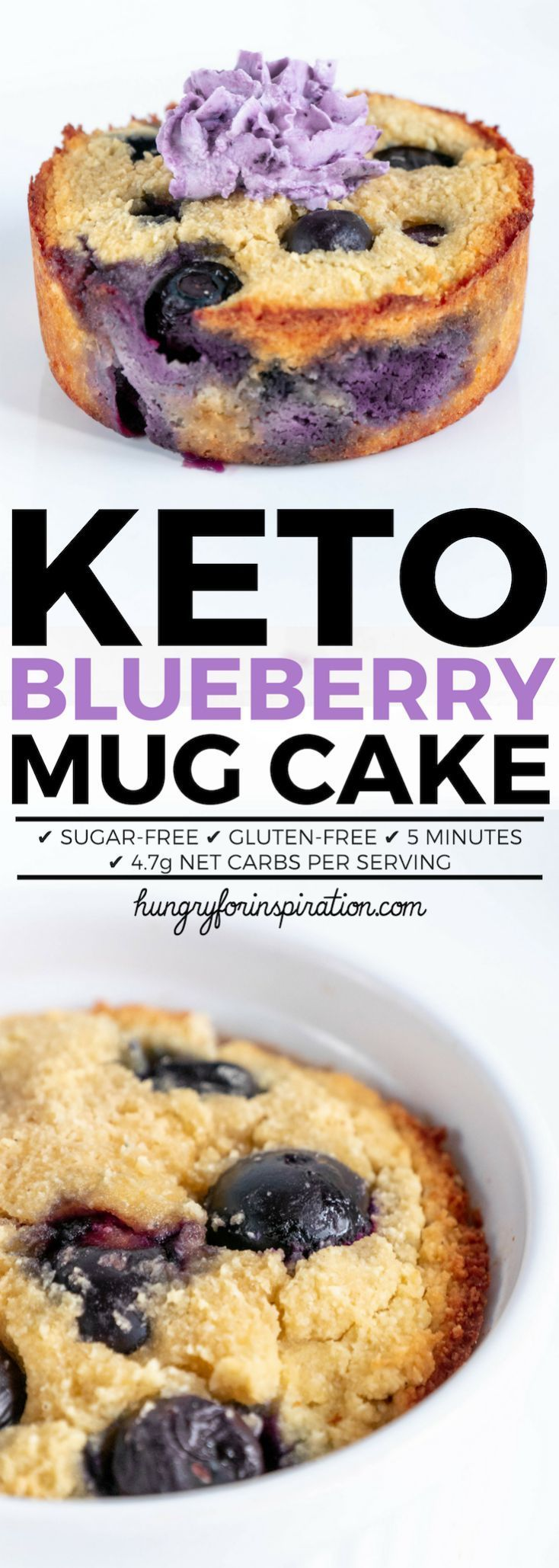 Easy 5-Minute Keto Blueberry Mug Cake (Keto Mug Cake) with only 4.7g net carbs per serving! Super quick, healthy, gluten-free and sugar-free! With easy paleo option! By hungryforinspiration.com #ketodessert #ketomugcake #ketosnacks #keto #ketorecipes #ketogenic #lowcarbdesserts #lowcarb #mugcake #mugcake