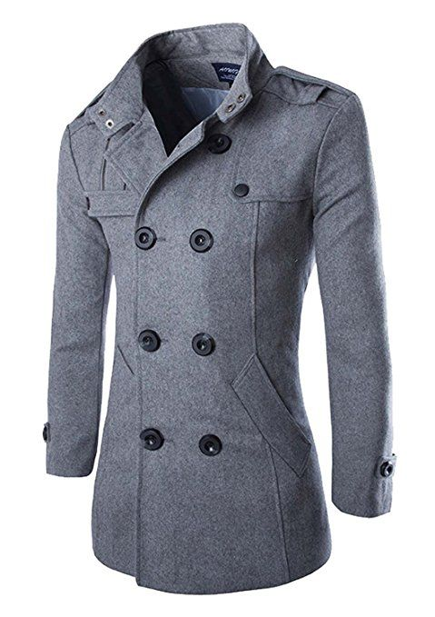 Mooncolour Mens Stand Collar Double Breasted Wool Long Trench Peacoat