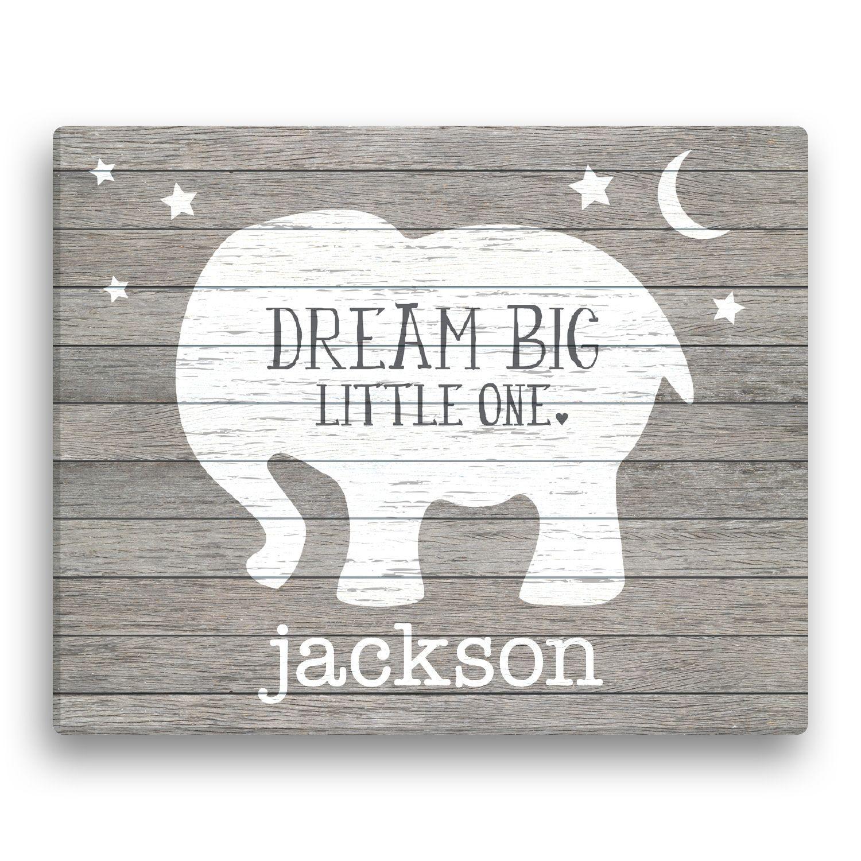 Dream big little one personalized elephant canvas personalized dream big little one personalized elephant canvas personalized baby gifts unique negle Images