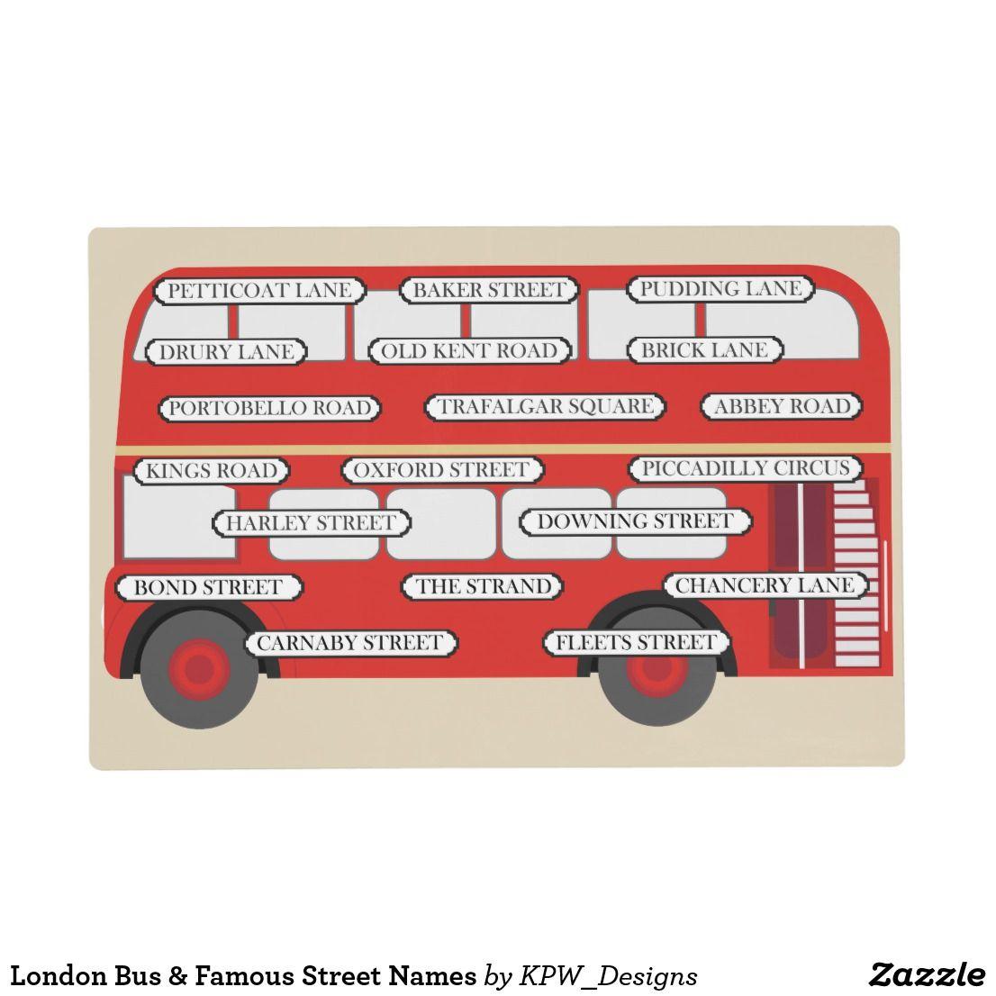 London Bus & Famous Street Names Placemat | Zazzle com