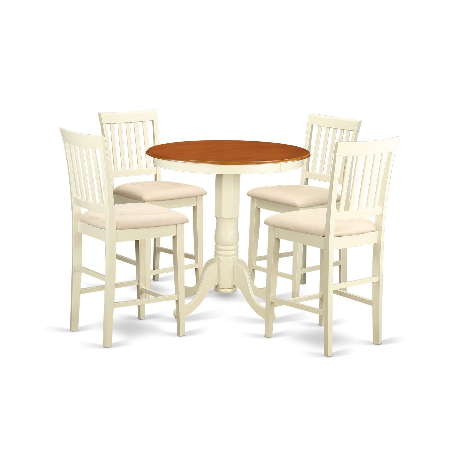 Cream and Off-white (Beige) Solid Wood Five-piece Pub Table Kitchen ...