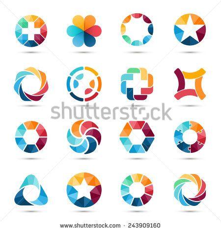 「ロゴテンプレートセット。抽象的な円のクリエイティブ記号とシンボル。円、プラス記号、星、三角形、六角形、その他のデザインエレメント。」のベクター画像素材(ロイヤリティフリー) 243909160