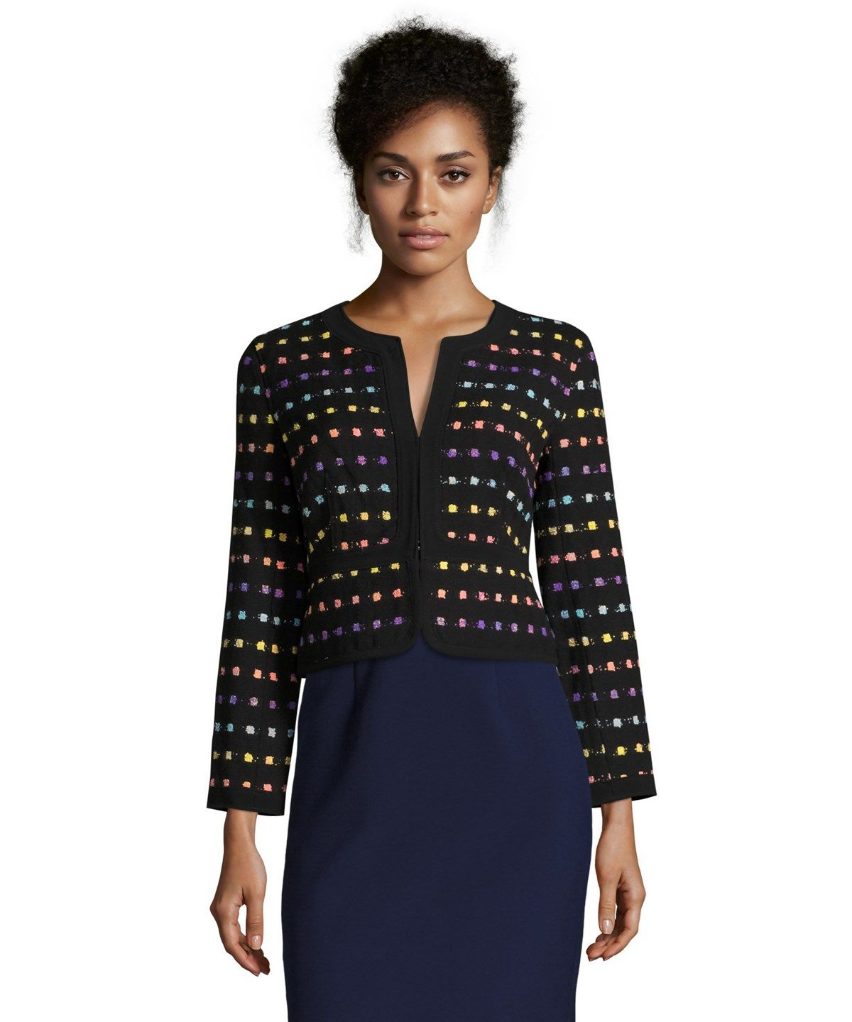 DIANE VON FURSTENBERG Black And Violet Tweed 'Alberta' Jacket'. #dianevonfurstenberg #cloth #blazers