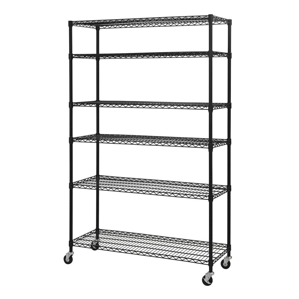 Wire Shelf With Wheels | Sandusky 74 In H X 48 In W X 18 In D 6 Shelf Steel Wire Shelving