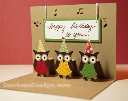 Two Step Owl Punch PopUp - Simple (inside) by darlenedesign - Cards and Paper Crafts at Splitcoaststampers