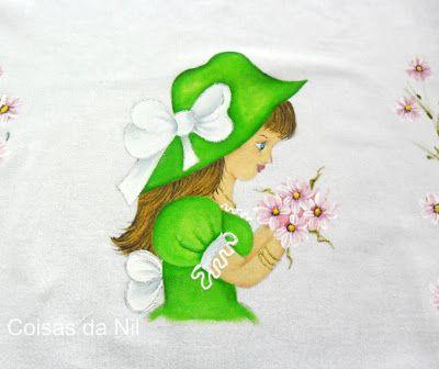 boneca verde para pano de prato