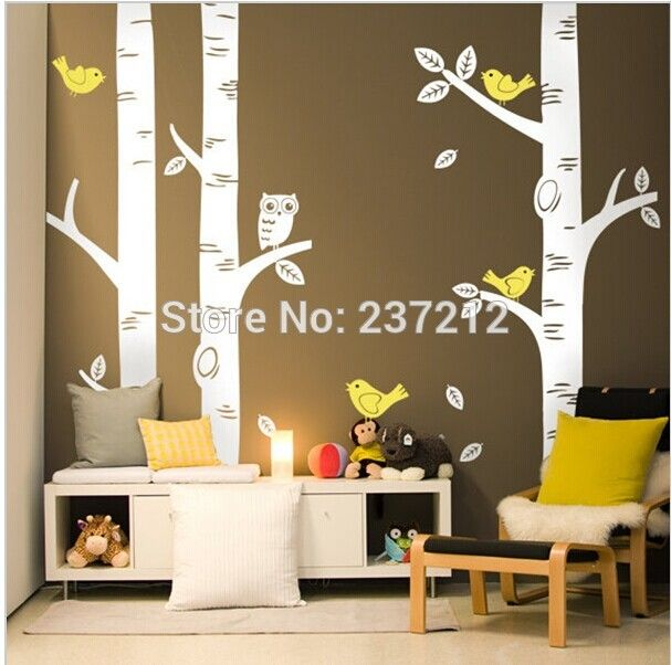 3 big birch trees wall decal art vinyl wall stickers decor love the bench wth pillows