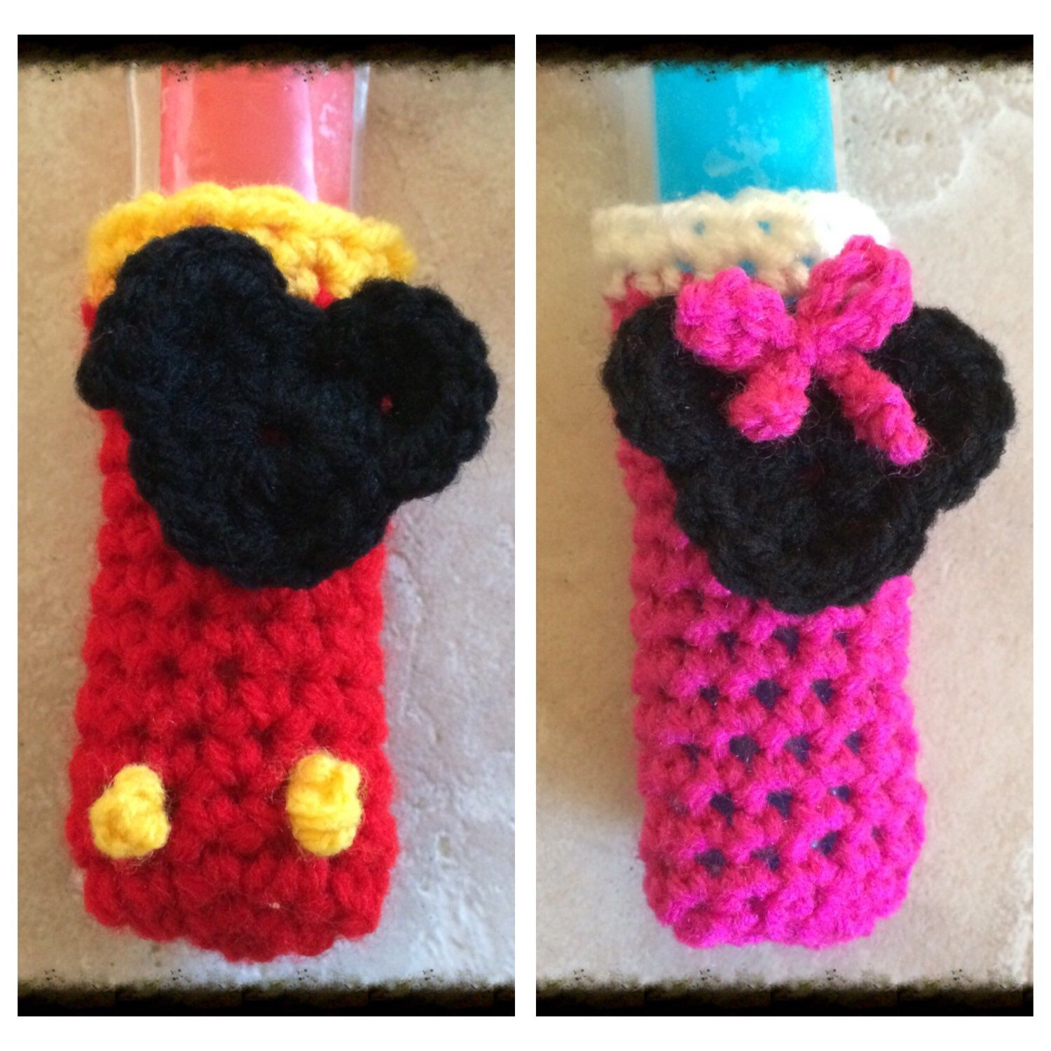 Mickey/Minnie Mouse Popsicle Holder, Disney Inspired Crocheted Cozy ...