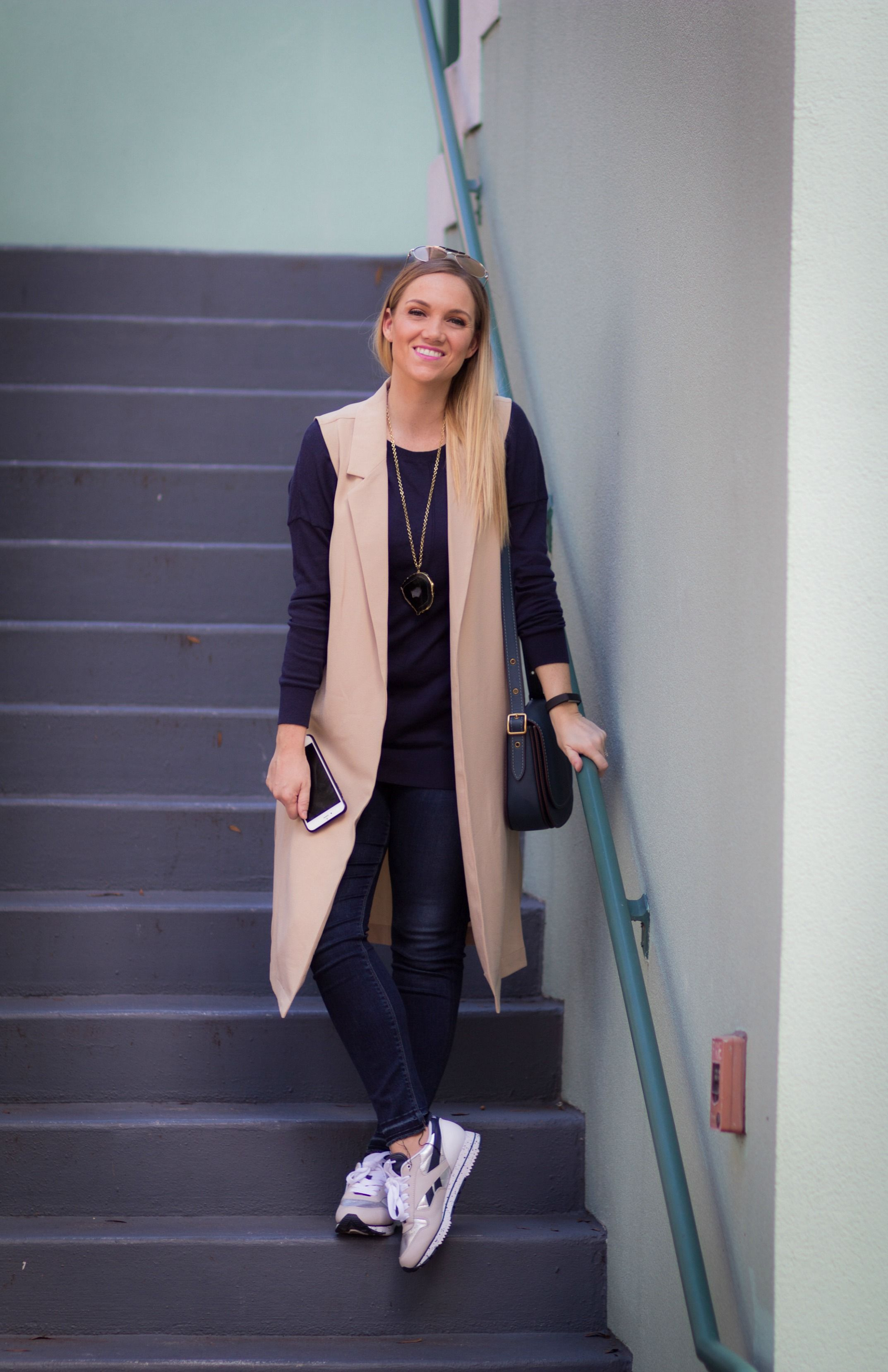 Duster vest & sneaker outfit | athleisure