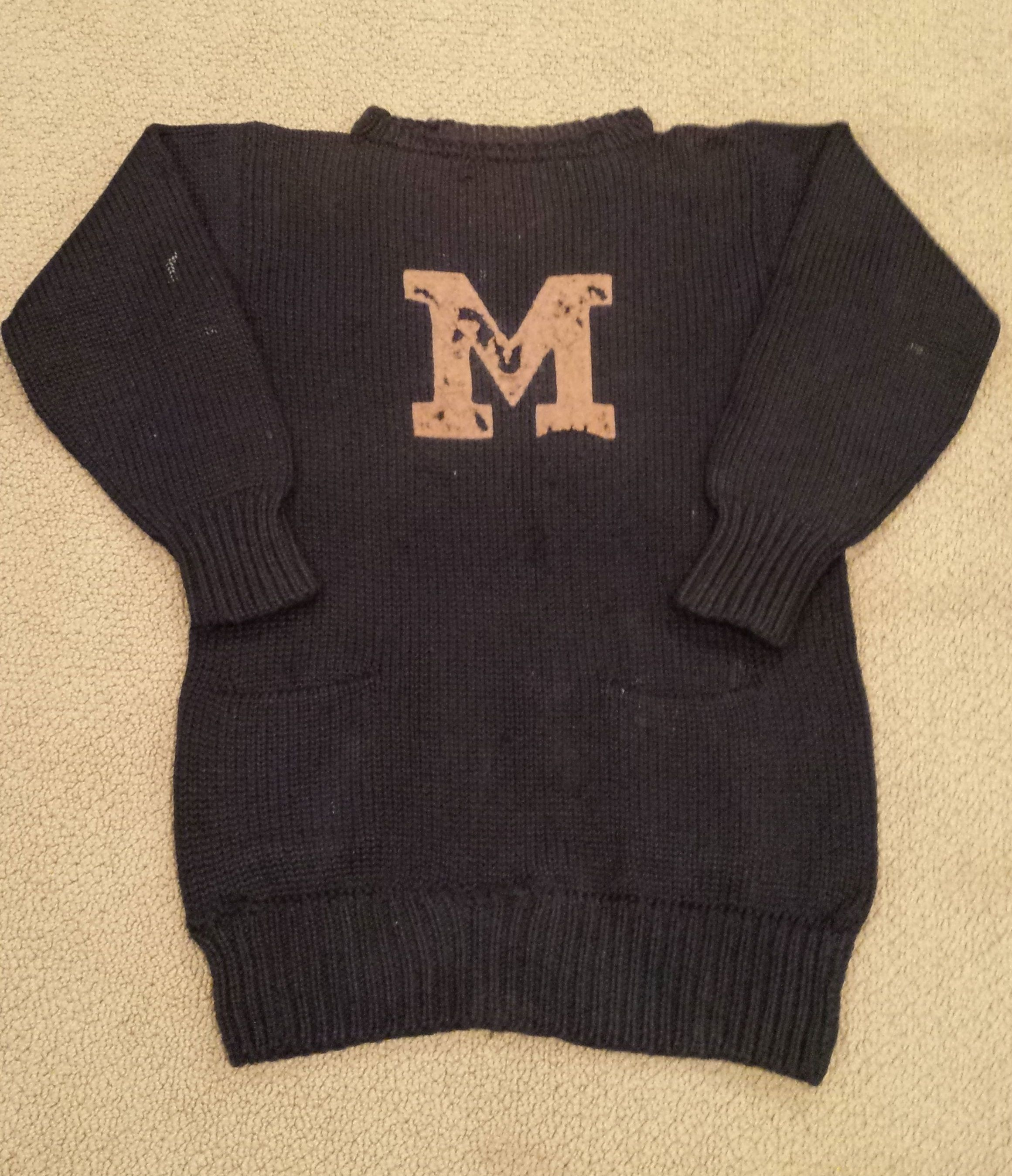 c 1910 Letterman Sweater Attributed to University of Michigan