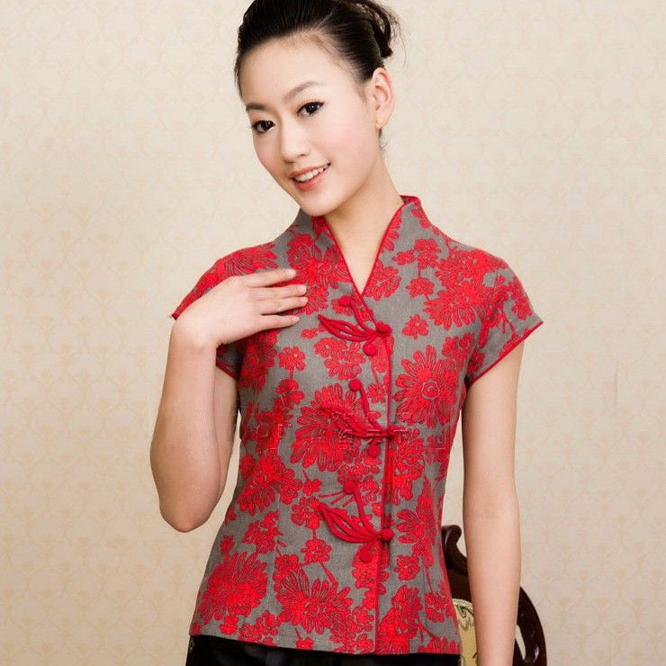 16e54de7d08c V Collar Floral Print Traditional Chinese Shirt for Women