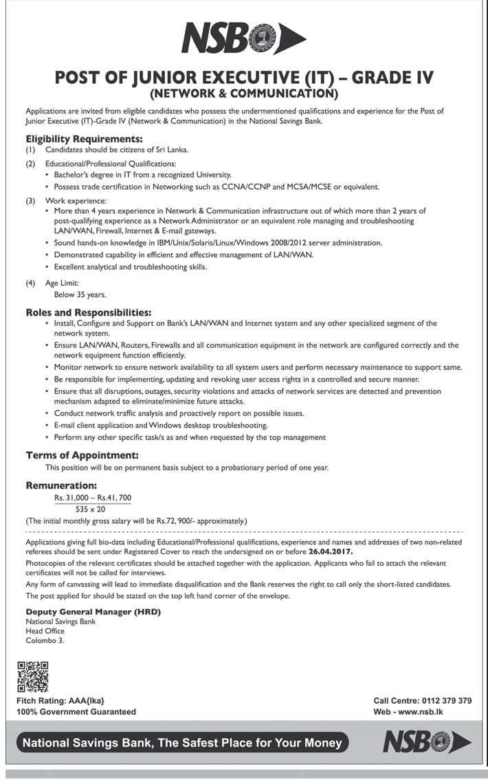 Sri Lankan Government Job Vacancies at National Savings Bank