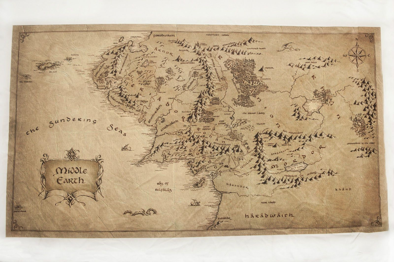 The Hobbit Unexpected Journey Map High Resolution Sublimed Fabric