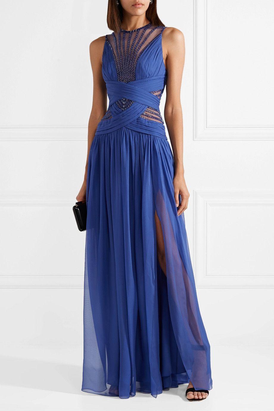 Embellished Organza And Silk-blend Chiffon Gown - Royal blue Zuhair Murad 37lFp