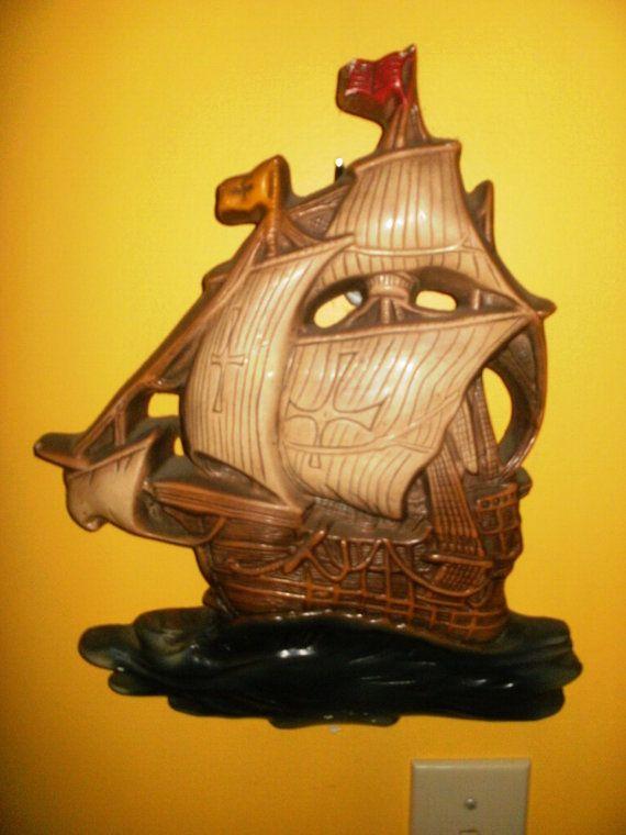Pirate ship chalk ware wall hanging by kickstartvintage on Etsy ...