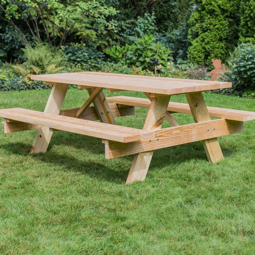 28 In X 72 In Picnic Table 144508 The Home Depot Picnic Table Backyard Projects Backyard