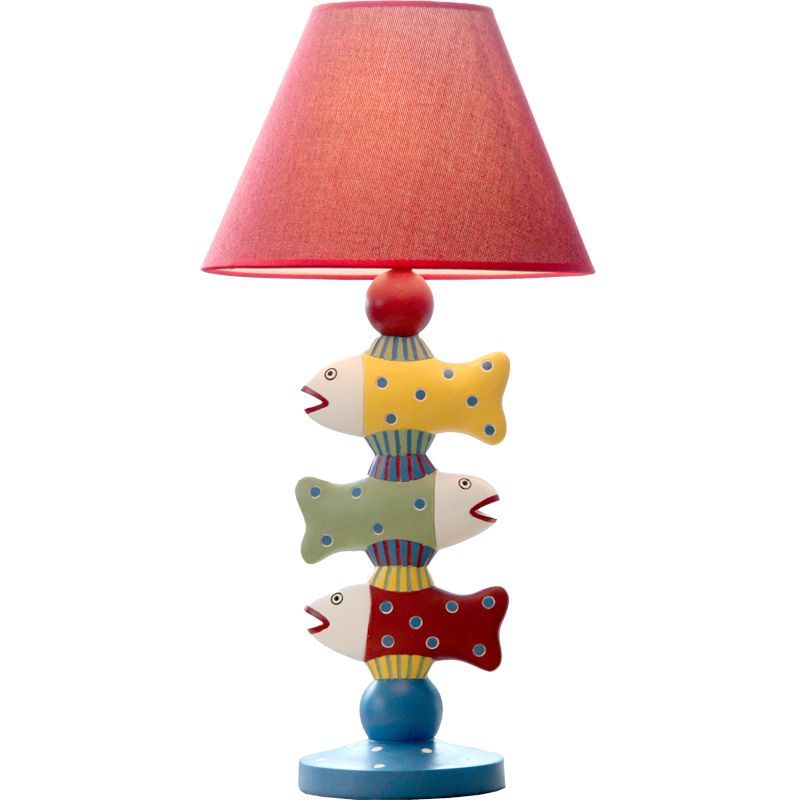 Three Fish Design Resin Body Kid S Gift Table Lamp Solid Linen Shade Children S Room Decor Study Reading Desk Light 56x2 Lamp Table Lamp Adjustable Table Lamps