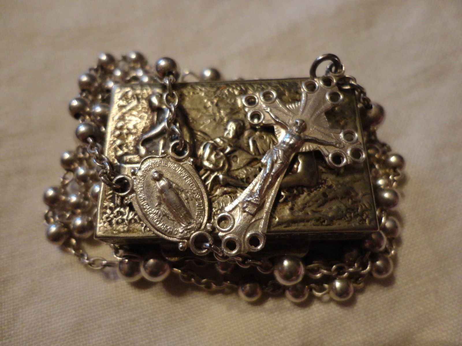 Vintage Sterling Silver Rosary and Rosary box. Made in Italy. Private collection
