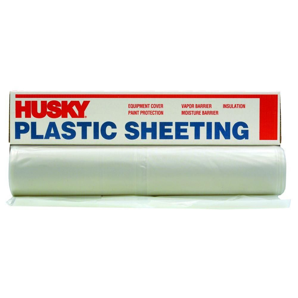 Husky 20 Ft X 200 Ft Clear 2 Mil Plastic Sheeting Cf0220 200c Plastic Plastic Sheets Husky